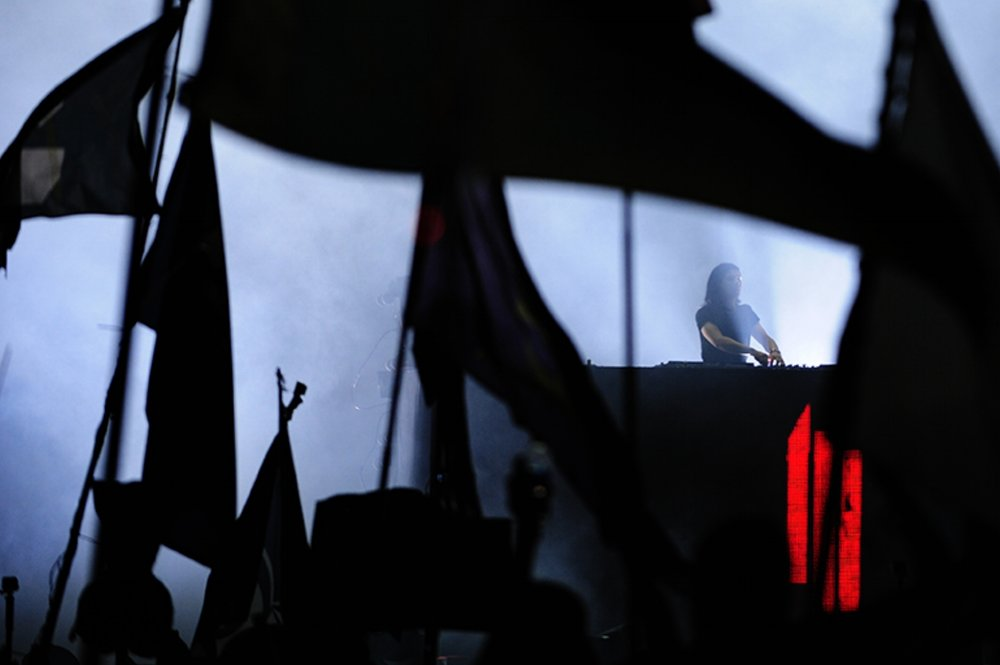 Skrillex, an electronic dance music artist, performs during the third day of the Okeechobee Music Festival in Okeechobee, Fla., on Saturday, March 5, 2016.