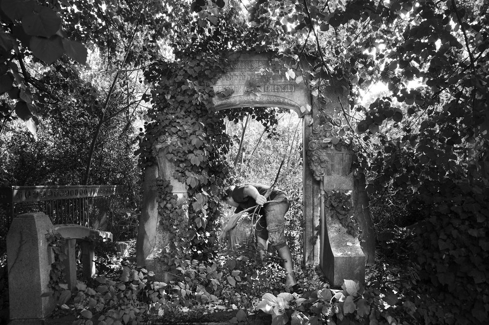 A maintenance worker in Oradea's Neologic cemetery clears away small debree from a gravesite that has been overrun with vegetation on August 25, 2013.