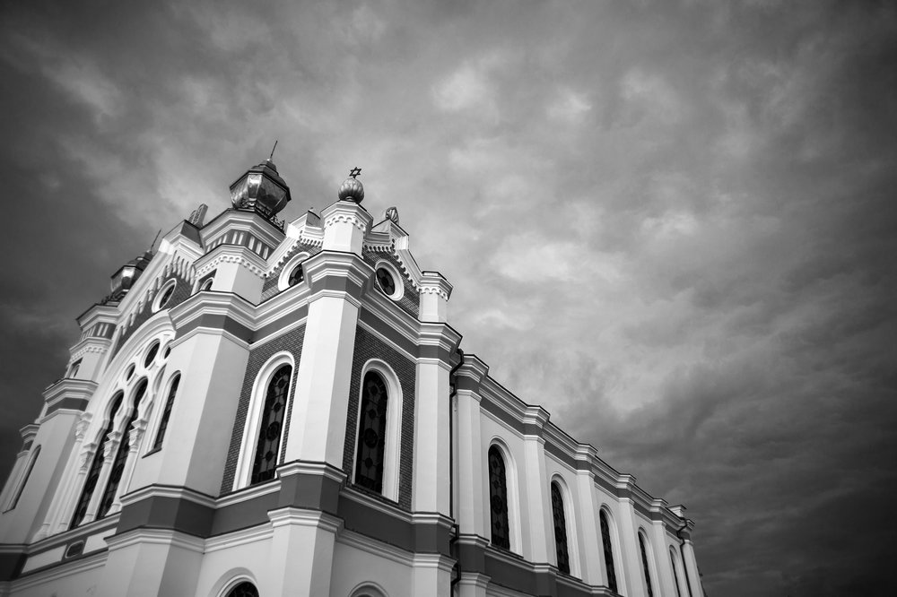 Dark clouds cover the Great Synagogue as a storm rolls in over Oradea, Romania on August 30, 2013.