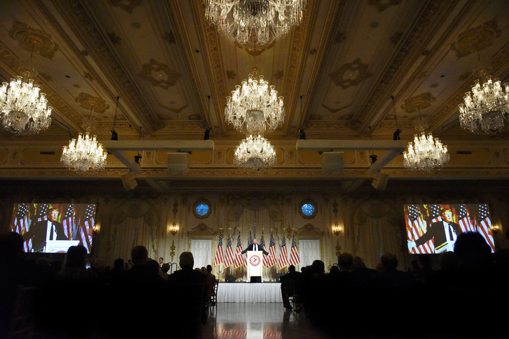 Donald Trump speaks at the annual Palm Beach County GOP Lincoln Day dinner at his Mar-a-Lago estate in Palm Beach, Fla., on March 20, 2016.