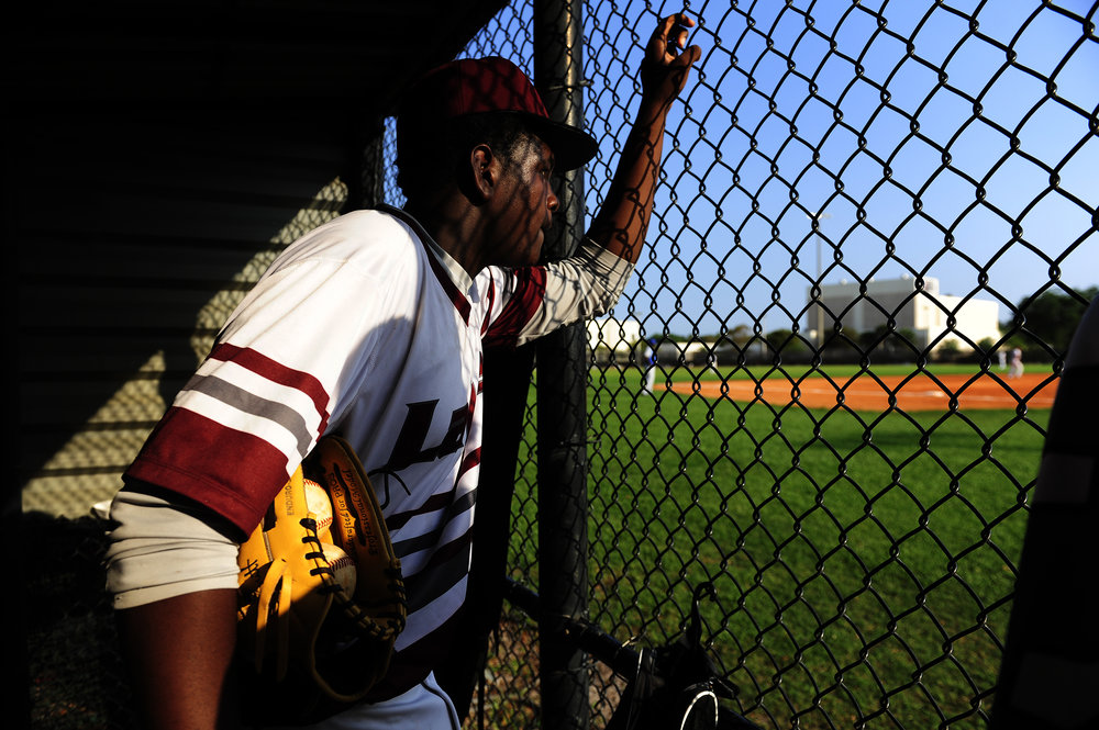 Palm Beach Lakes third basemen, Drayion Jackson, 42, watches his teammates on the field during the matchup against Somerset on April 1, 2016. The Rams' baseball program hopes to end their grueling 0-11 start to the season.