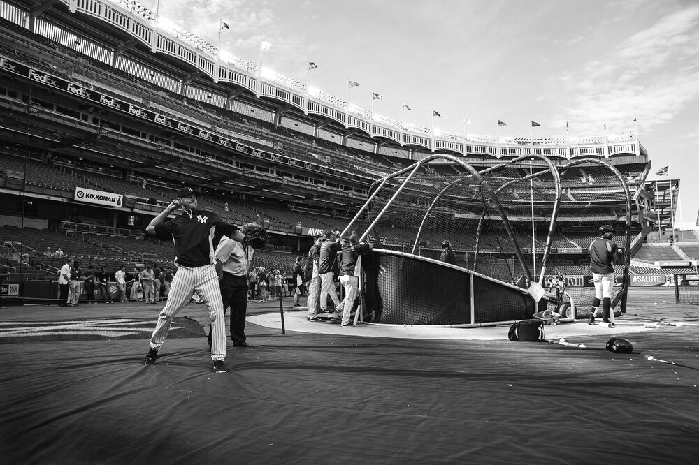 Derek Jeter warms up just before a home game at Yankee Stadium on June 18, 2014.