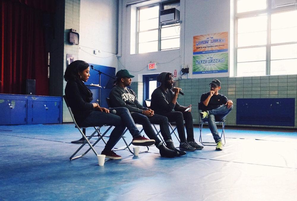 Black Experience Panelist: Shetara Edden, Cellus Hamilton and Jonathan Laguer.