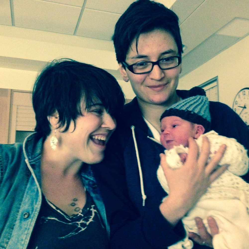This is about 20 hours after delivery.  Sara, Ana, and baby Leif: my family.