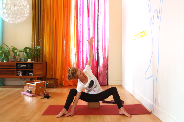 Modified Upavistha Konasana with a side bend