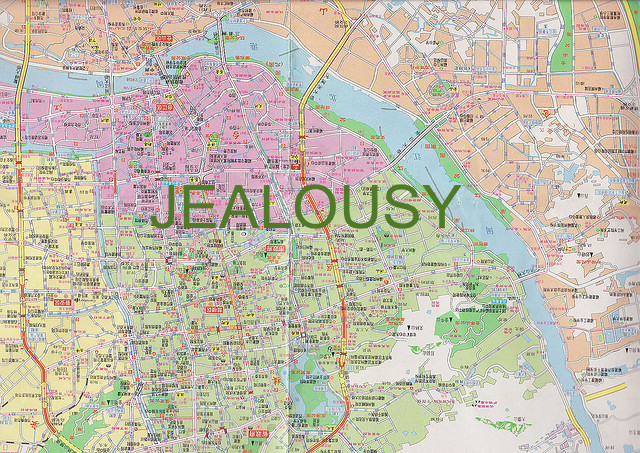 """Map of Fuzhou City"" by  Toby Simkin  used under  CC BY 2.0  added text ""Jealousy"" from original"