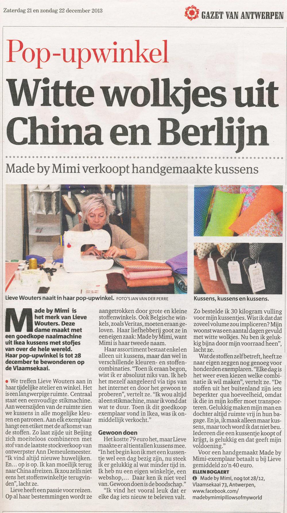 Gazet van Antwerpen - 21 en 22 december 2013