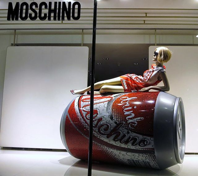 Current mood. Happy Monday! Let's tackle this week like this mannequin tackled this Moschino cola. #MannequinMonday #Moschino