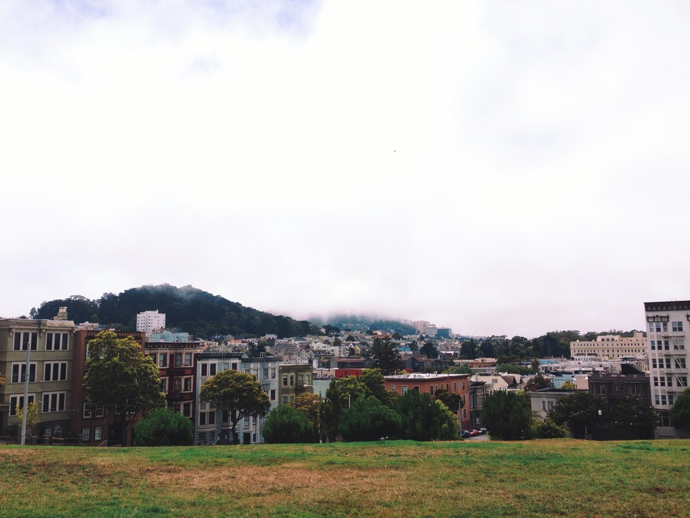View from the top of Alamo Square Park