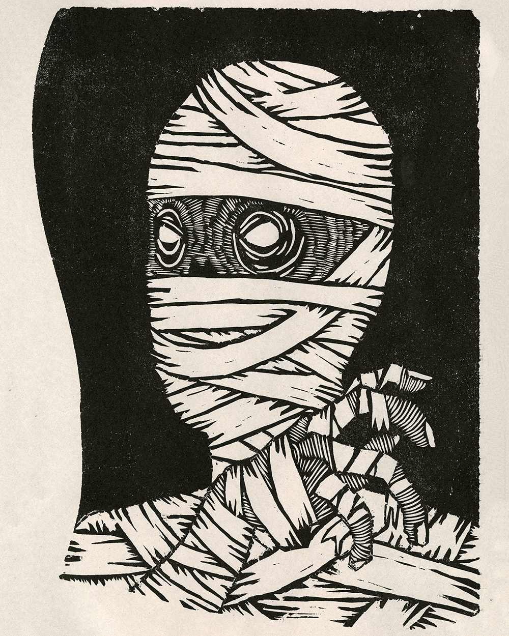 """""""Mummycuts"""" Woodcut on Newsprint"""