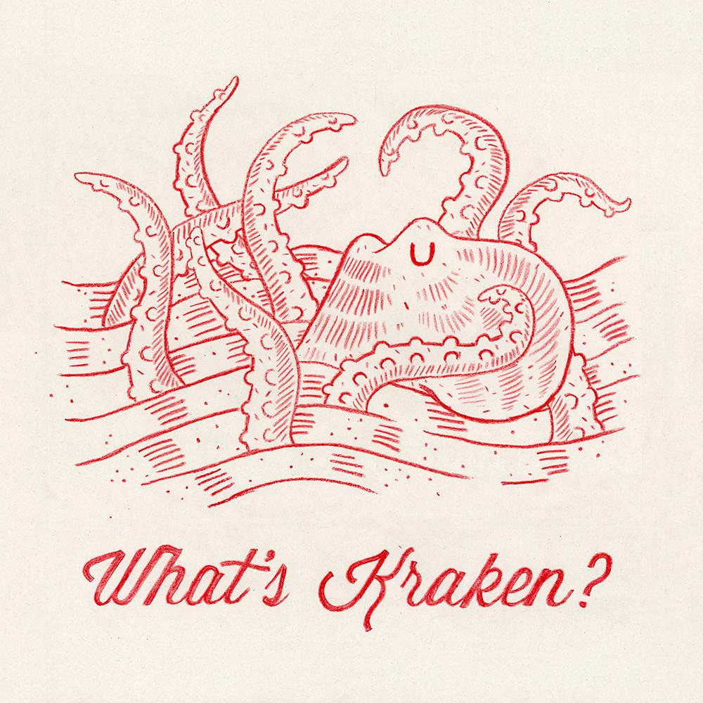 """What's Kraken"" Crayon on Newsprint"