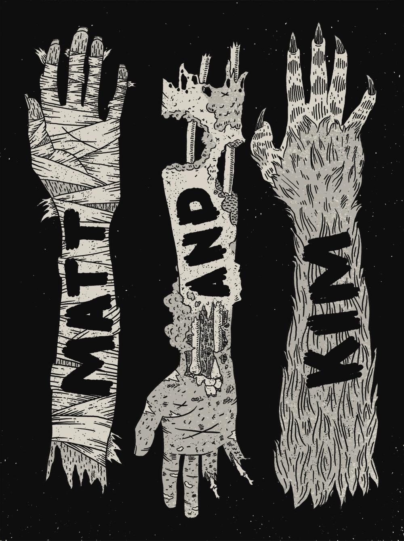 "T-shirt design for the band ""Matt & Kim."" Digital"