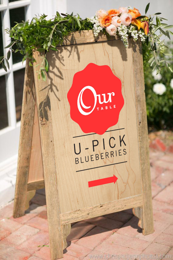 u-pick directional sign