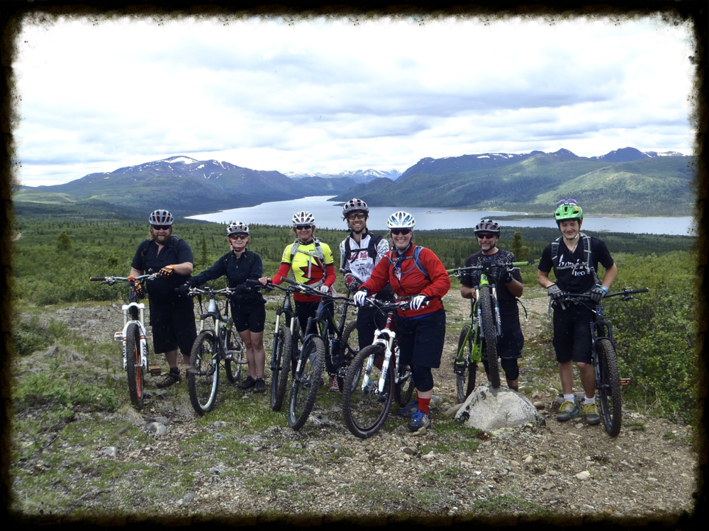 Getting ready to ride Starbuck's Revenge in Whitehorse, Yukon.  Lora is second from the left.