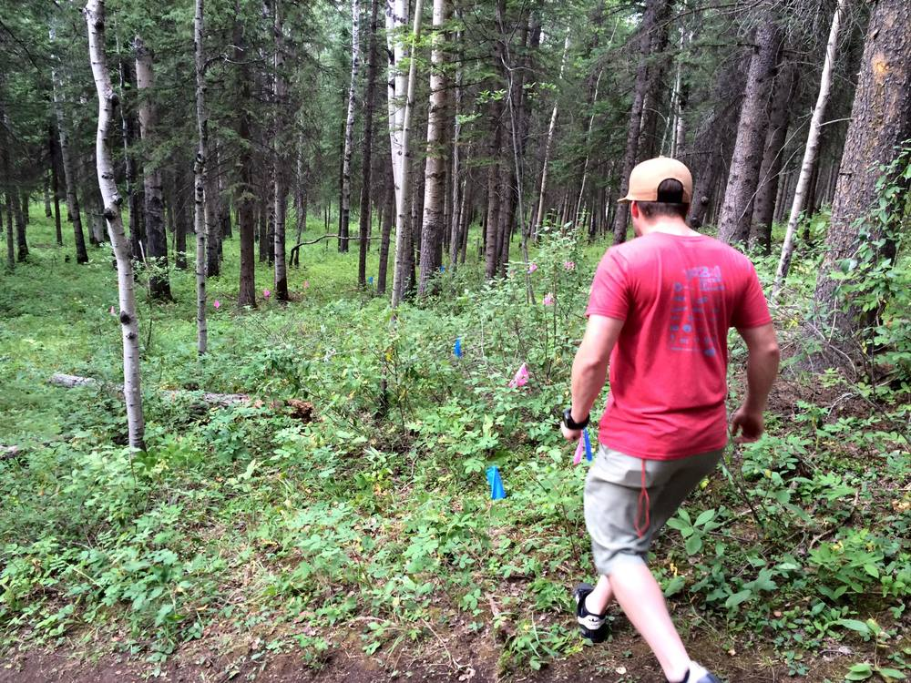 Justin and Kevin selected a site for the re-route and flagged the new proposed trail.