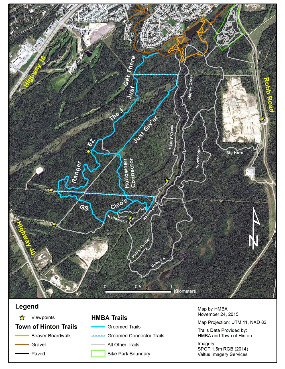 Map showing trails that will be groomed over the winter.  Click on image to enlarge