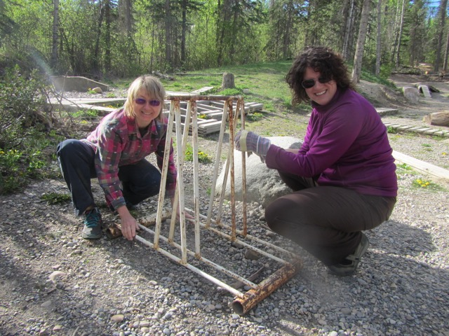 Holly and Karyn were very busy painting all the bike racks.