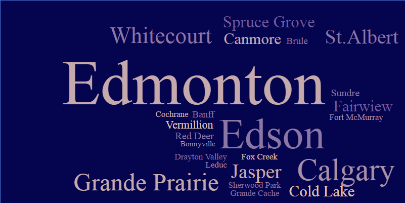 These are locations across Alberta and excludes Hinton.