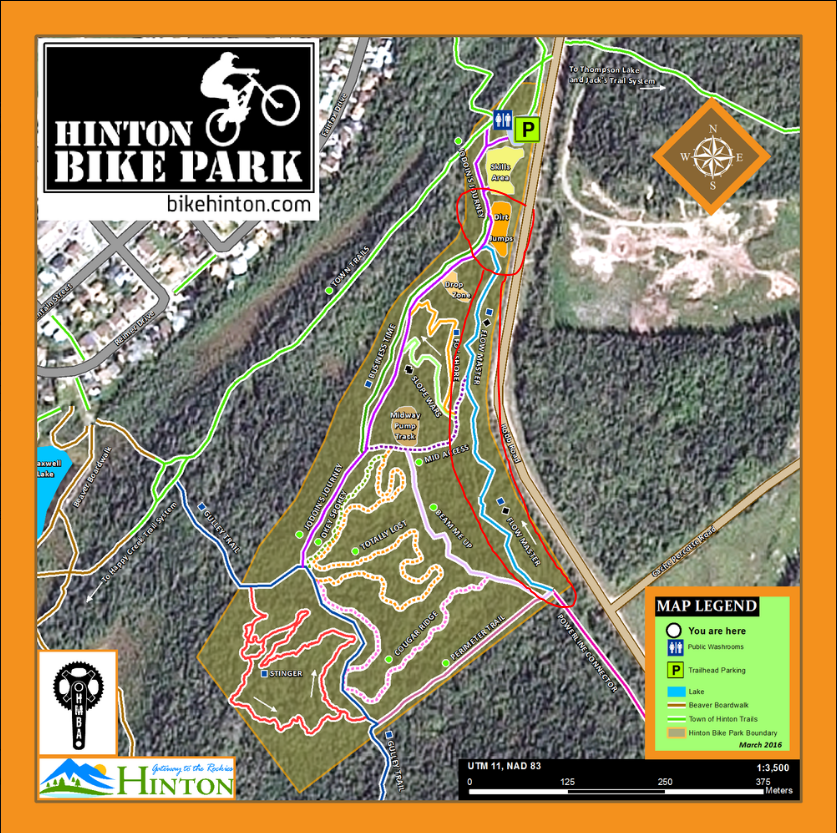 The Dirt Jumps and Flow Master (circled in red) will be the two main areas closed during the work bee on Sunday, September 25th.  Other areas may be temporarily closed as well.