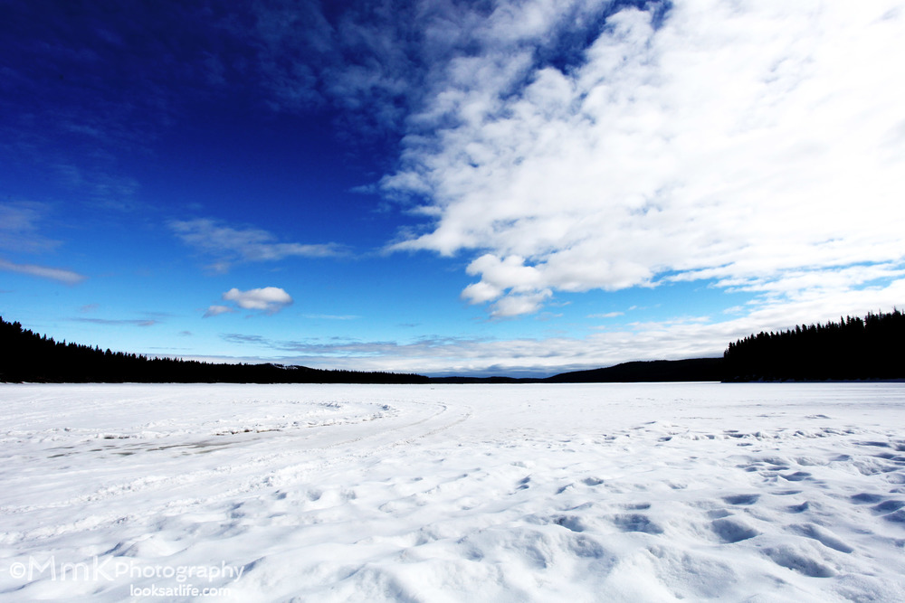 A still frozen Beaver Lake, above Winfield, British Columbia.