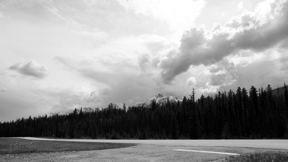 The Rocky Mountains. Heading east through Kootenay National Park, British Columbia.
