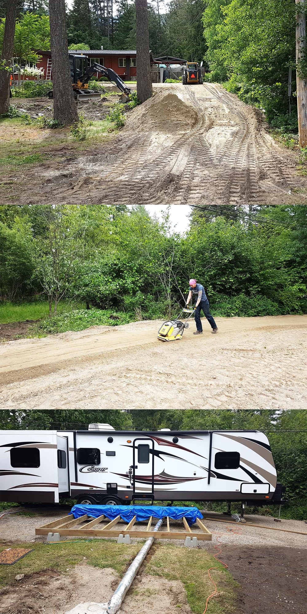 The reality of setting up...we just couldn't pull in and park! My parents agreed to some land-formatting, which now looks amazing! Top: Starting to create space. Middle: Angel packing the gravel. Bottom: Getting the hook-ups working.