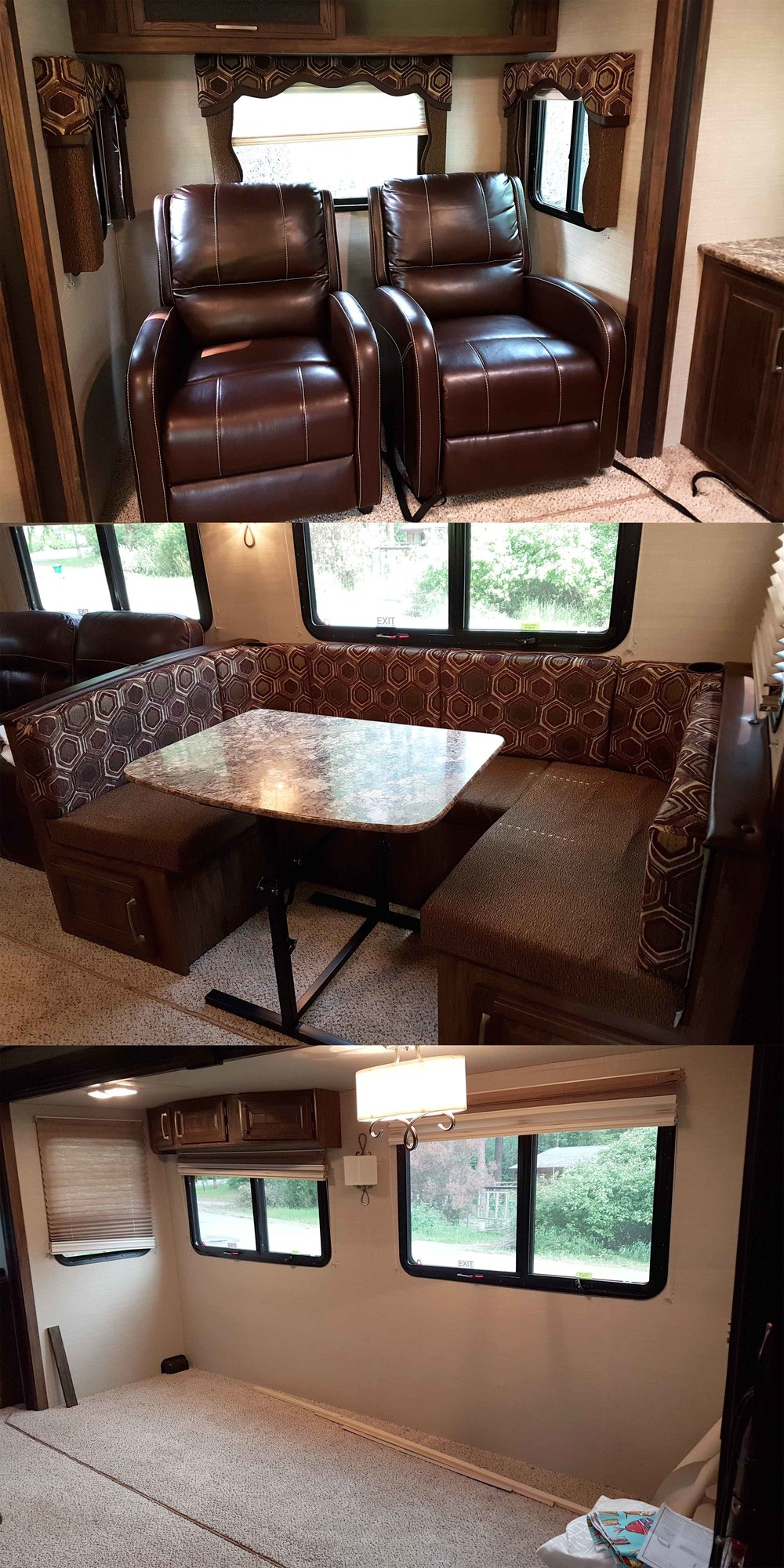 "Some things had to go! Top: Recliners where my office is now (see first blog photo). Middle: Oversized eating space. Bottom: The large ""bump-out"" gutted. We removed 10 padded window coverings, two recliners, a small sofa bed, the eating nook, and replaced the RV mattress with our own. Not to mention many other small upgrades and alterations!"