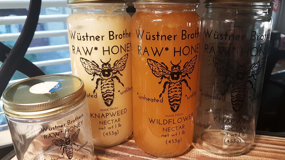 I keep the empty jars to hold bouquets of  wild flowers, catch bugs to remove from my home, and burn beeswax candles in. Fitting, yes?
