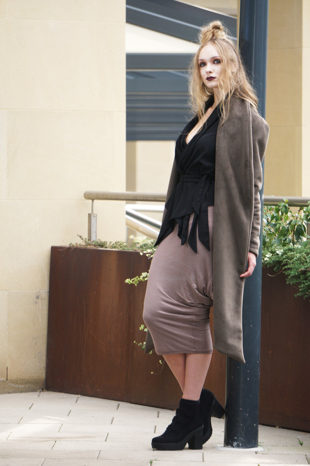 zaramia-ava-zaramiaava-leeds-fashion-designer-ethical-sustainable-taupe-versatile-drape-yoko-skirt-mioka-black-mai-coat-leeds-dock-grunge-10