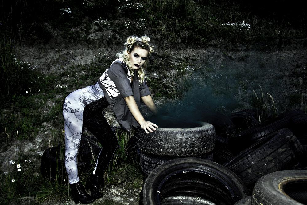 zaramia-ava-zaramiaava-leeds-fashion-designer-ethical-sustainable-grey-versatile-drape-midi-crop-jacket-jumpsuit-print-panels-bodysuit-womenswear-grunge-tyres-location-photoshoot-5