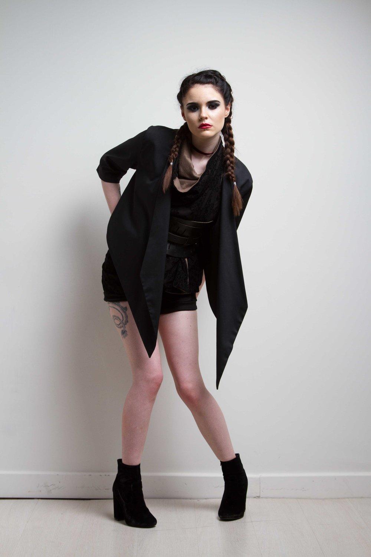 zaramia-ava-zaramiaava-leeds-fashion-designer-ethical-sustainable-black-versatile-drape-wrap-top-cowl-mio-jacket-shorts-womenswear-belt-grunge-5