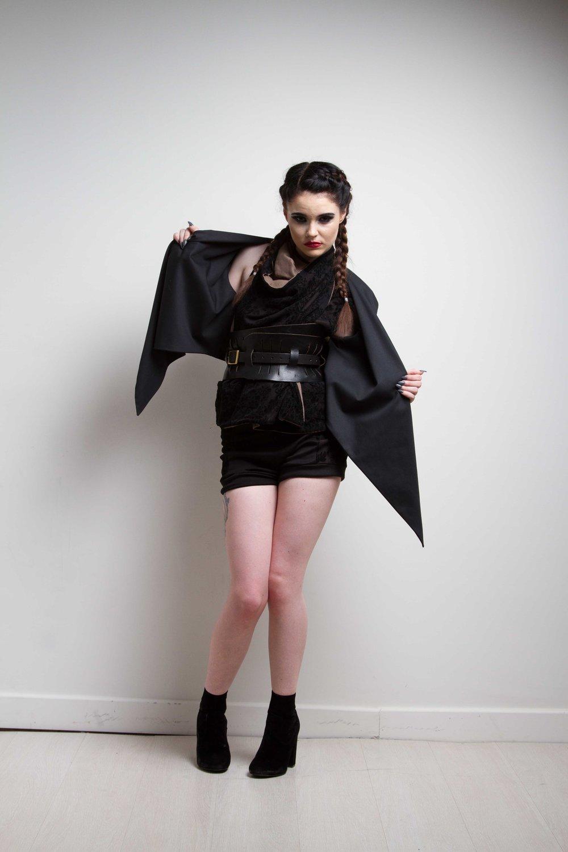 zaramia-ava-zaramiaava-leeds-fashion-designer-ethical-sustainable-black-versatile-drape-wrap-top-cowl-mio-jacket-shorts-womenswear-belt-grunge-6