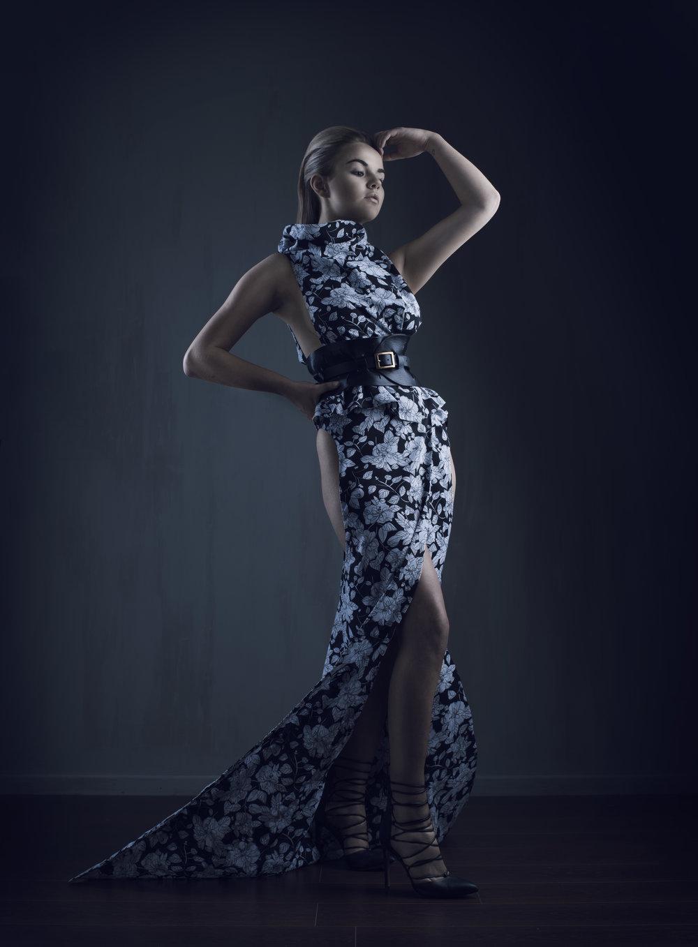 zaramia-ava-zaramiaava-leeds-fashion-designer-ethical-sustainable-glasses-versatile-drape-wrap-top-wrap-top-dress-black-white-grey-styling-pose-studio-womenswear-photoshoot-11