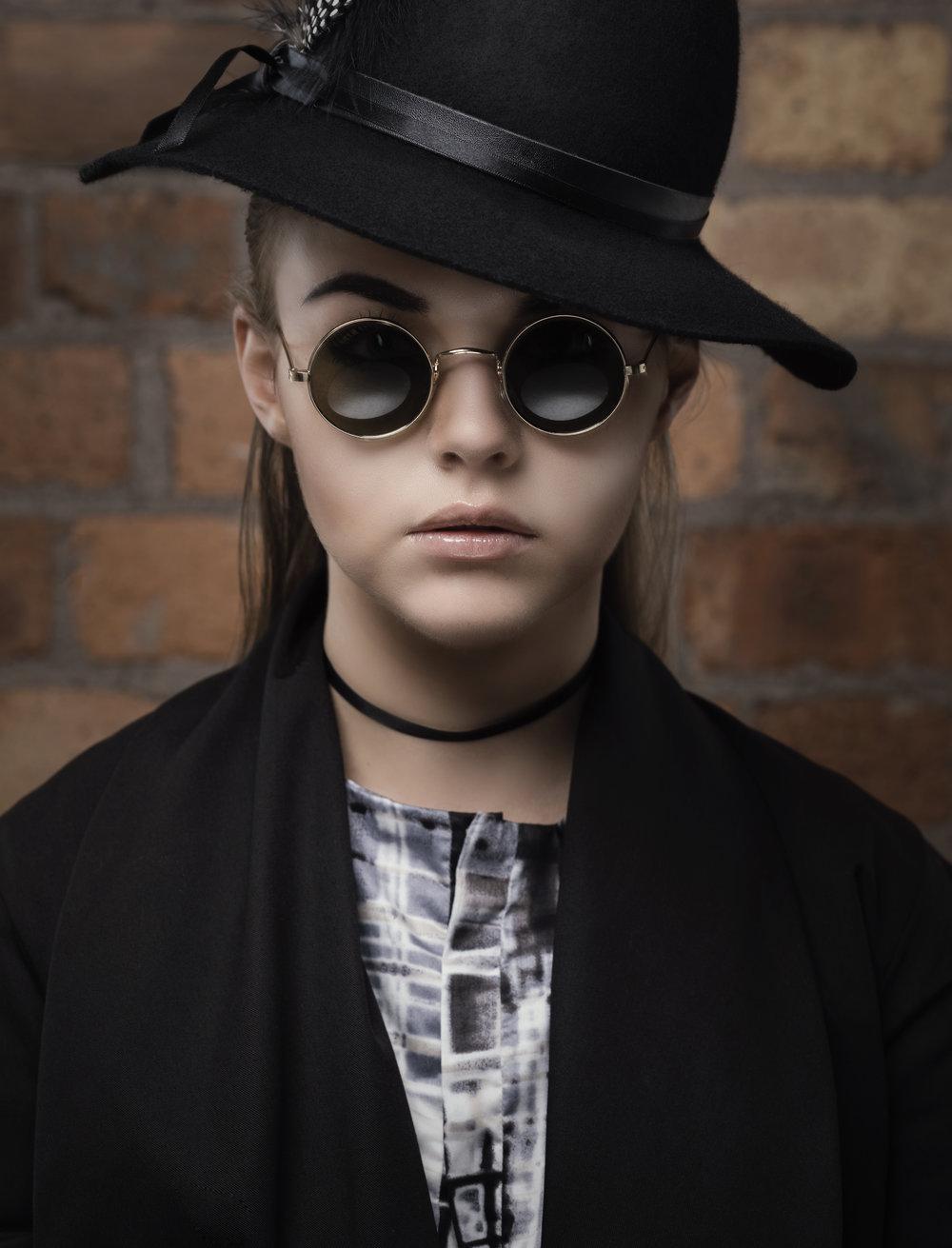 zaramia-ava-zaramiaava-leeds-fashion-designer-ethical-sustainable-glasses-versatile-drape-wrap-top-wrap-top-jacket-mio-black-white-grey-styling-hat-studio-womenswear-photoshoot-7