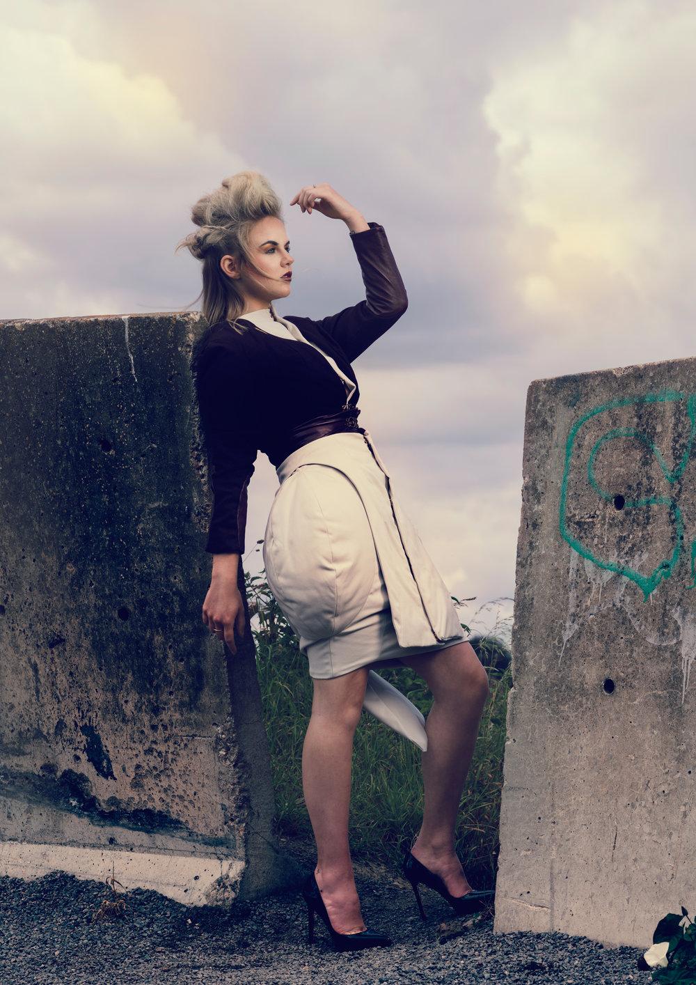 zaramia-ava-zaramiaava-leeds-fashion-designer-ethical-sustainable-taupe-versatile-drape-wrap-top-cowl-structure-padding-burgundy-crop-jacket-styling-location-womenswear-photoshoot-5