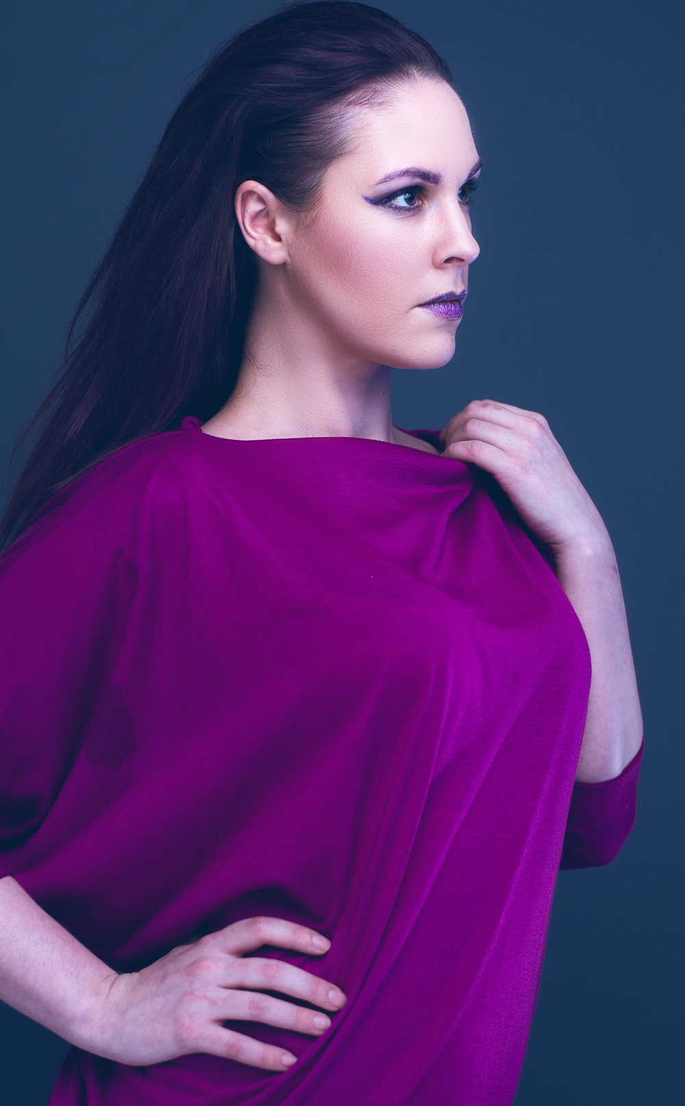 zaramia-ava-zaramiaava-leeds-fashion-designer-ethical-sustainable-minimalist-ayaka-magenta-dress-versatile-drape-cowl-styling-studio-womenswear-models-photoshoot-vibrant-colour-4
