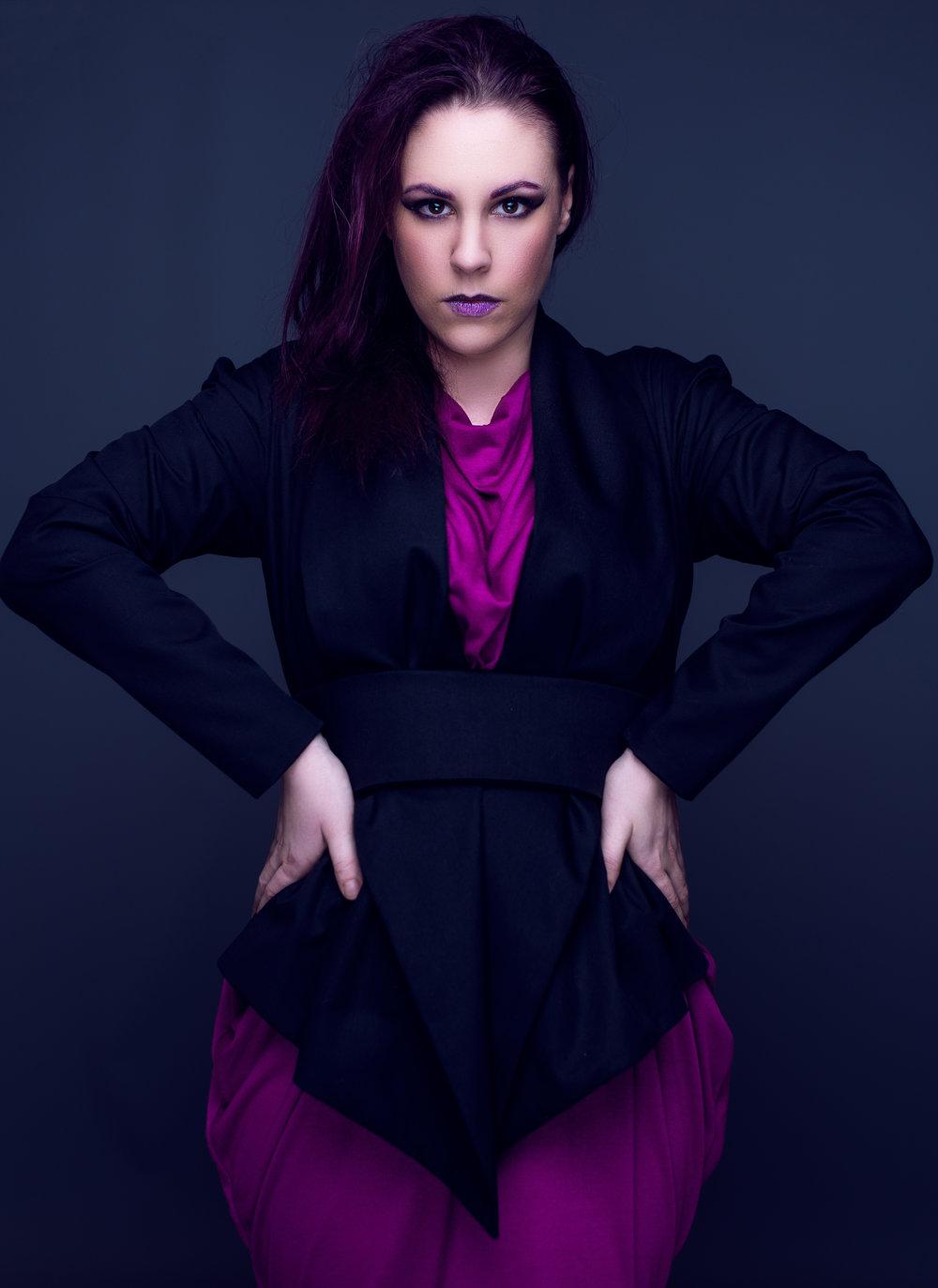 zaramia-ava-zaramiaava-leeds-fashion-designer-ethical-sustainable-mio-tailored-minimalist-jacket-black-ayaka-magenta-dress-versatile-drape-cowl-styling-studio-womenswear-models-photoshoot-vibrant