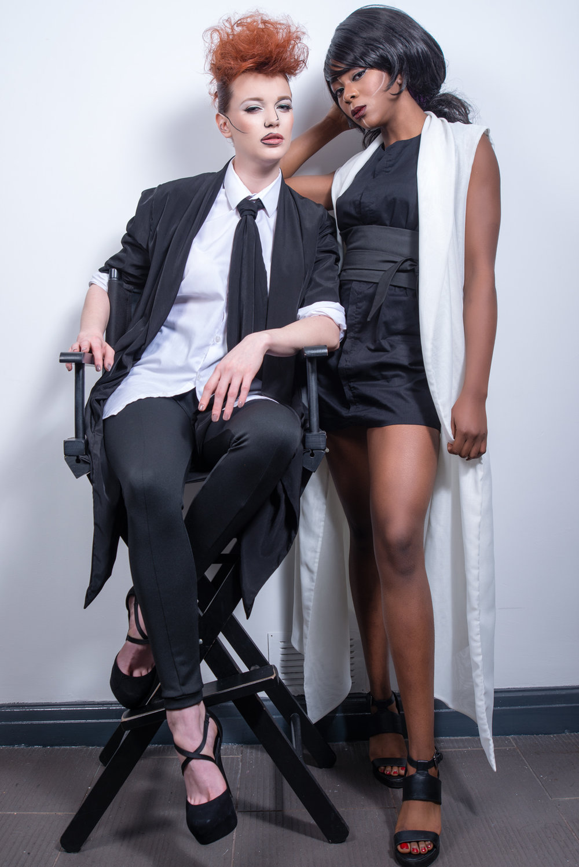 zaramia-ava-zaramiaava-leeds-fashion-designer-ethical-sustainable-tailored-minimalist-shirt-mio-rei-black-obi-belt-dress-versatile-drape-cowl-styling-studio-womenswear-models-photoshoot-black-white-2.jpg