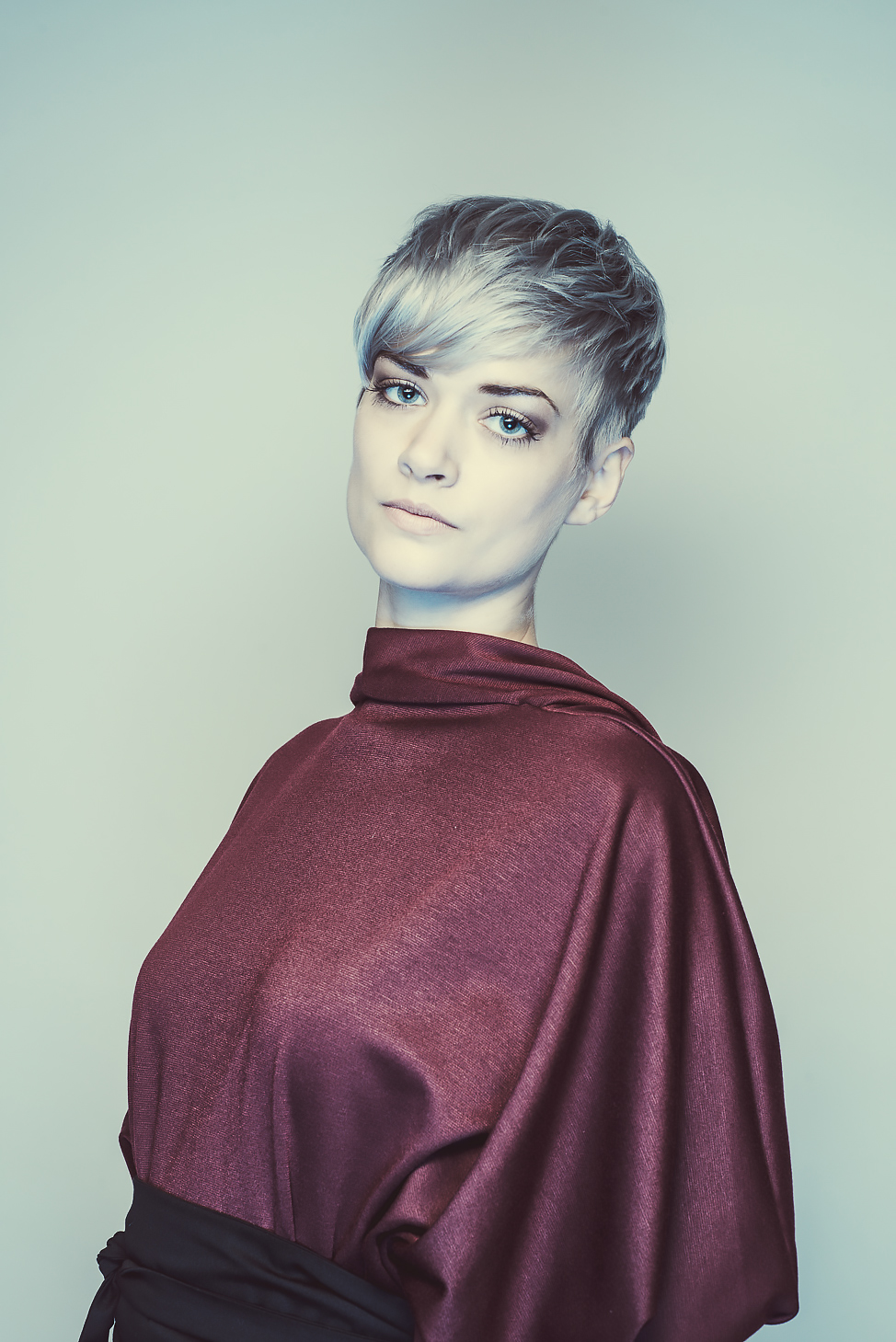 zaramia-ava-zaramiaava-leeds-fashion-designer-ethical-sustainable-tailored-minimalist-aya-burgundy-dress-obi-belt-black-versatile-drape-cowl-styling-womenswear-models-photoshoot-shrine-hairdressers-2