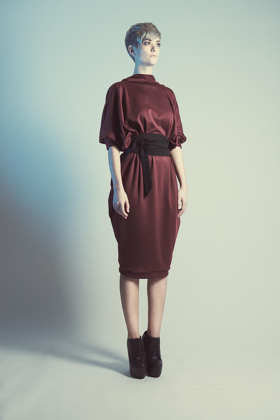 zaramia-ava-zaramiaava-leeds-fashion-designer-ethical-sustainable-tailored-minimalist-aya-burgundy-dress-obi-belt-black-versatile-drape-cowl-styling-womenswear-models-photoshoot-shrine-hairdressers-10