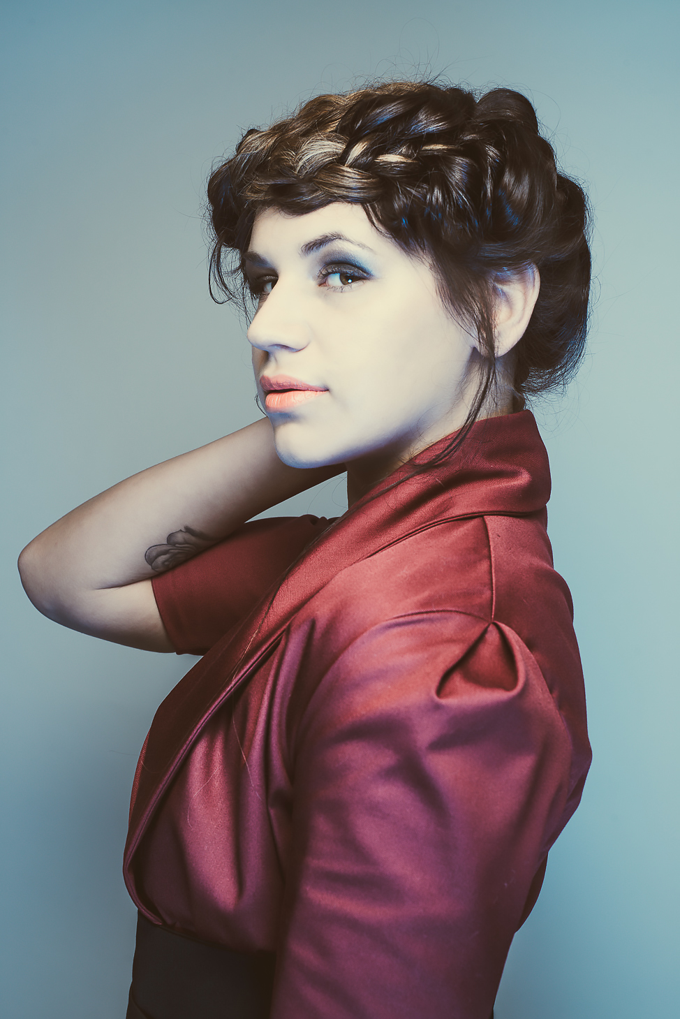 zaramia-ava-zaramiaava-leeds-fashion-designer-ethical-sustainable-tailored-minimalist-mai-burgundy-jacket-dress-belt-versatile-drape-cowl-styling-womenswear-models-photoshoot-shrine-hairdressers-54