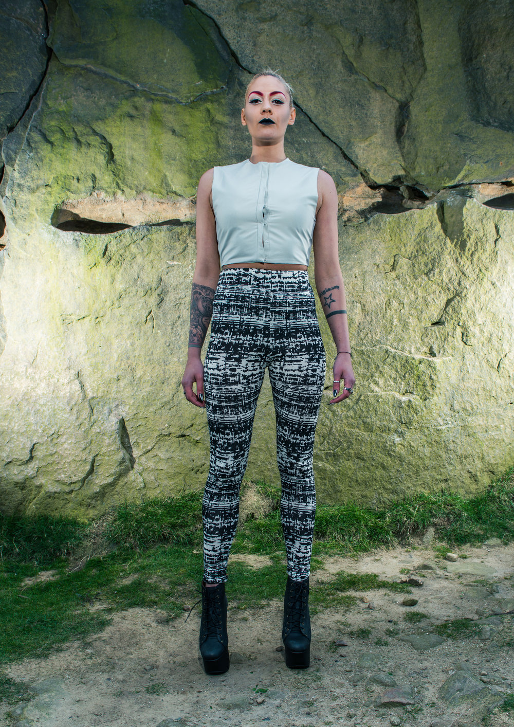 zaramia-ava-zaramiaava-leeds-fashion-designer-ethical-sustainable-tailored-minimalist-aya-grey-print-fitted-bandeau-leggings-versatile-drape-cowl-styling-womenswear-models-photoshoot-location-23