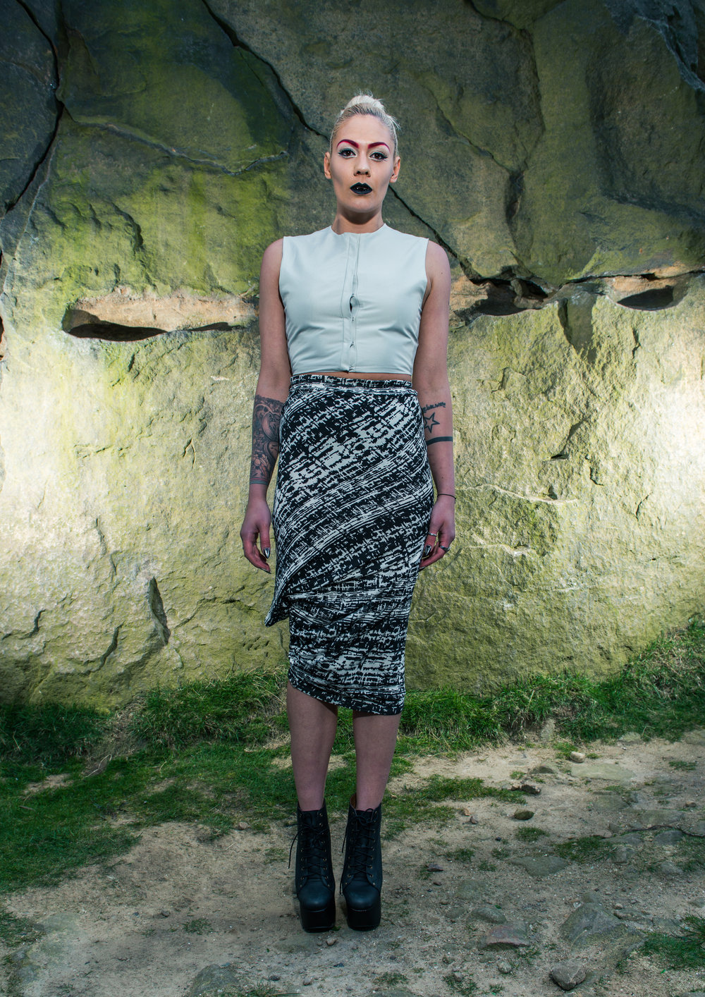 zaramia-ava-zaramiaava-leeds-fashion-designer-ethical-sustainable-tailored-minimalist-aya-grey-print-fitted-bandeau-point-skirt-versatile-drape-cowl-styling-womenswear-models-photoshoot-location-21