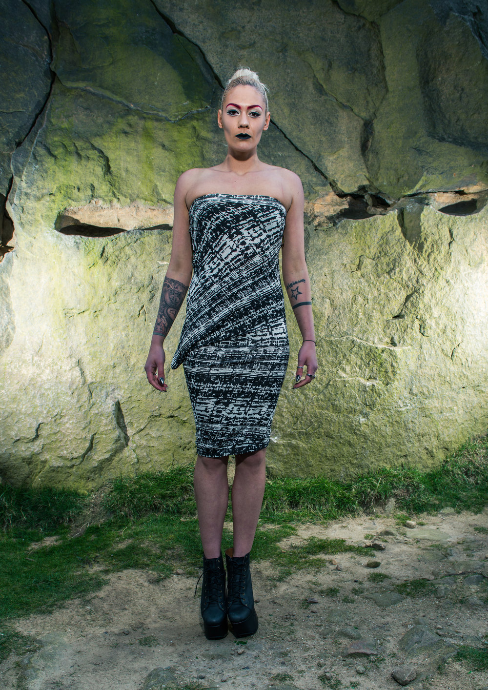 zaramia-ava-zaramiaava-leeds-fashion-designer-ethical-sustainable-tailored-minimalist-aya-grey-print-fitted-bandeau-point-skirt-versatile-drape-cowl-styling-womenswear-models-photoshoot-location-22