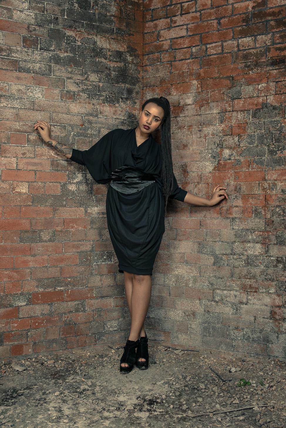 zaramia-ava-zaramiaava-leeds-fashion-designer-ethical-sustainable-tailored-minimalist-aya-dress-versatile-drape-black-belt-wrap-cowl-styling-womenswear-models-photoshoot-location-15