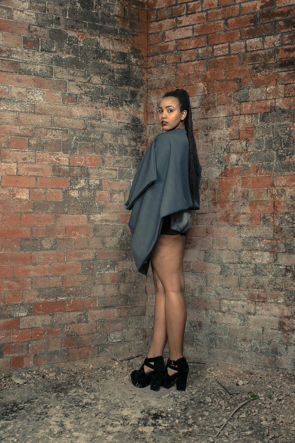 zaramia-ava-zaramiaava-leeds-fashion-designer-ethical-sustainable-tailored-minimalist-cape-versatile-drape-grey-bodysuit-black-belt-wrap-cowl-styling-womenswear-models-photoshoot-location-21