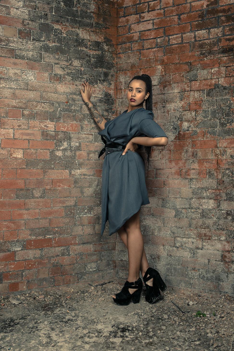 zaramia-ava-zaramiaava-leeds-fashion-designer-ethical-sustainable-tailored-minimalist-dress-jacket-versatile-drape-grey-bodysuit-black-obi-belt-wrap-cowl-styling-womenswear-models-photoshoot-22