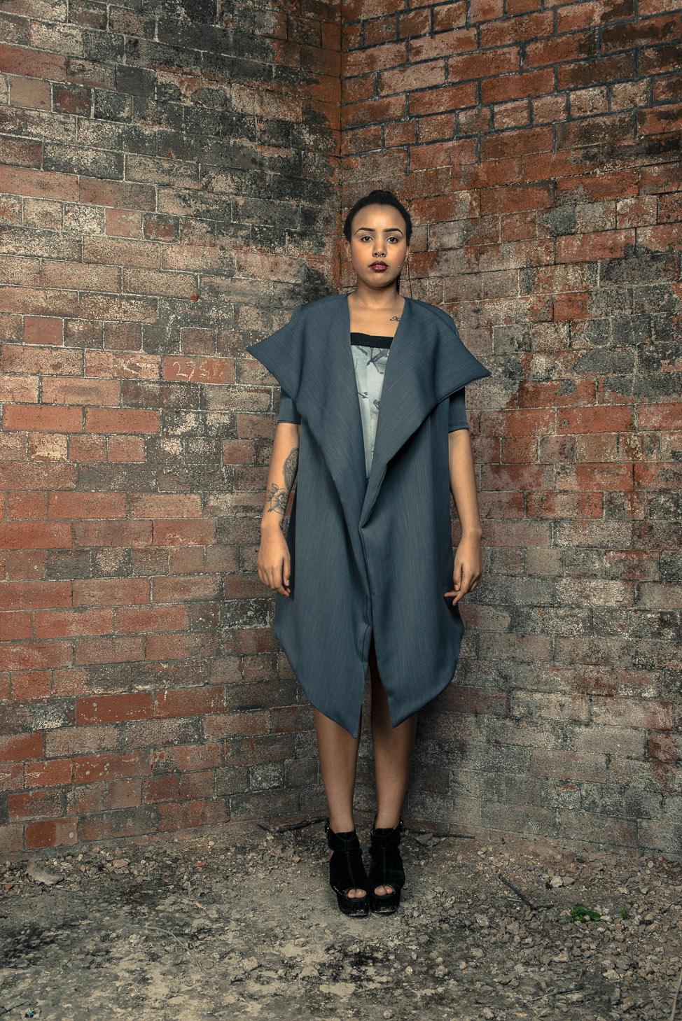 zaramia-ava-zaramiaava-leeds-fashion-designer-ethical-sustainable-tailored-minimalist-dress-jacket-versatile-drape-grey-bodysuit-black-obi-belt-wrap-cowl-styling-womenswear-models-photoshoot-24