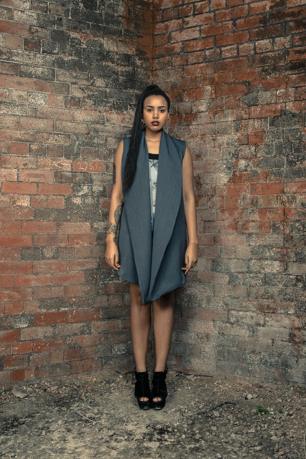 zaramia-ava-zaramiaava-leeds-fashion-designer-ethical-sustainable-tailored-minimalist-dress-jacket-versatile-drape-grey-bodysuit-black-obi-belt-wrap-cowl-styling-womenswear-models-photoshoot-27
