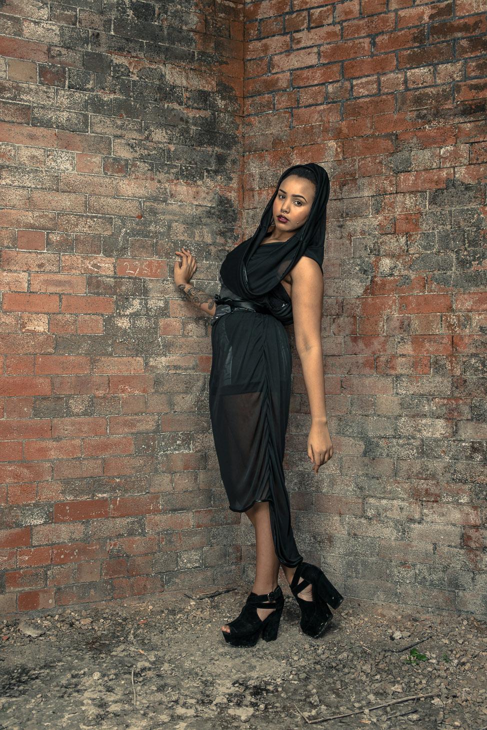 zaramia-ava-zaramiaava-leeds-fashion-designer-ethical-sustainable-tailored-minimalist-sheer-versatile-drape-dress-black-hood-binding-belt-wrap-cowl-styling-bodysuit-womenswear-models-photoshoot-6